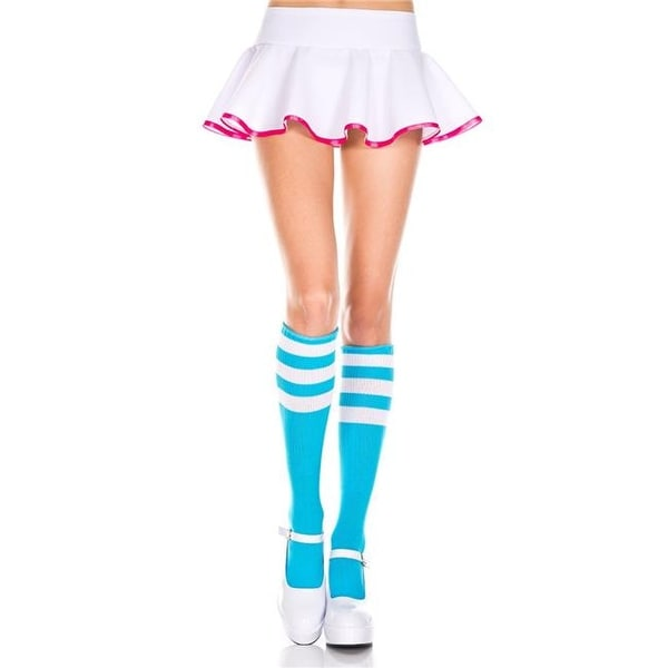 0d6632fa875 Shop 5726-NEON BLUE-WHITE Acrylic Knee High Socks with Striped Top ...