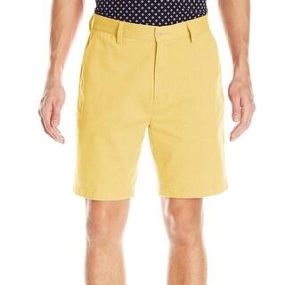 Nautica NEW Yellow Mens Size 38 Solid Flat Front Khakis Chinos Shorts