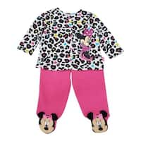 Disney Baby Girls Pink Minnie Applique Leopard Print 2 Pc Pant Outfit
