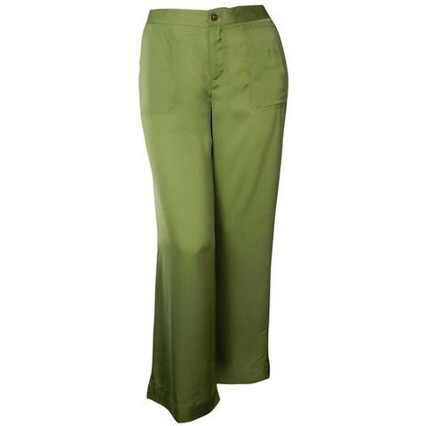 Lauren Ralph Lauren Women's Satin Pocket Wide Leg Pant - Fern - XS