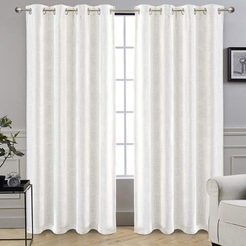"DriftAway Solid Color Linen Blend Lined 100% Blackout Grommet Window Curtains - 52""Width X 84 ""Length"