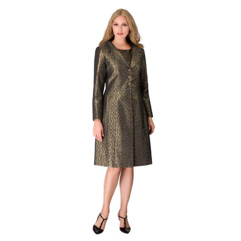 Giovanna Signature Women's 2pc Antique Gold Dress + Coat Set