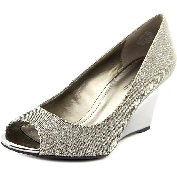 Bandolino Tuff Love Women Open Toe Canvas Silver Wedge Heel