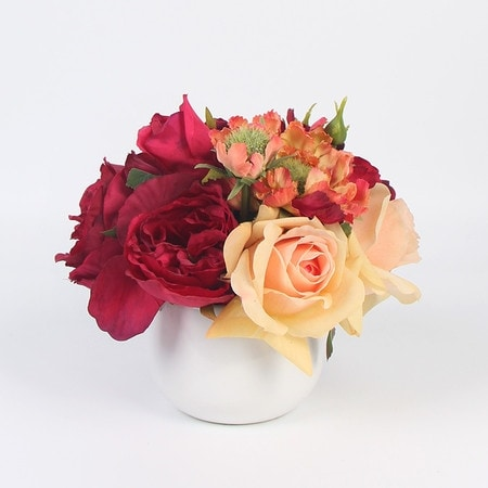 G Home Collection Luxury Red Hydrangea Rose and Champaigne Rose Flower Arrangement - Orange/White
