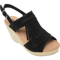 Minnetonka Women's Ashley II Wedge Sandal Black Suede