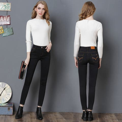 High Elasticity Women's Clothing Foot Jeans Slim Long Pants