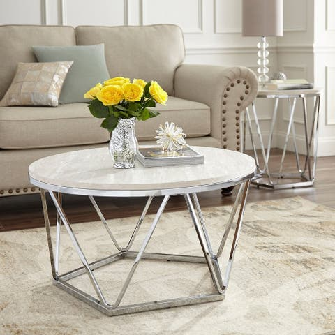 Silver Orchid Henderson Faux Stone Silvertone Round Coffee Table