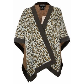 Sutton Studio Plus Size Animal Print Knit Wool Topper (One Size, Brown Combo) - Brown Combo - OS