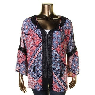 Jessica Simpson Womens Plus Peasant Top Floral Print Pull Over - 2x