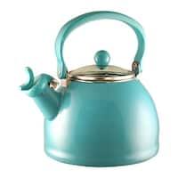 Calypso Basics by Reston Lloyd Harmonic Hum Whistling Teakettle with Glass Lid, 2.2-Quart, Turquoise