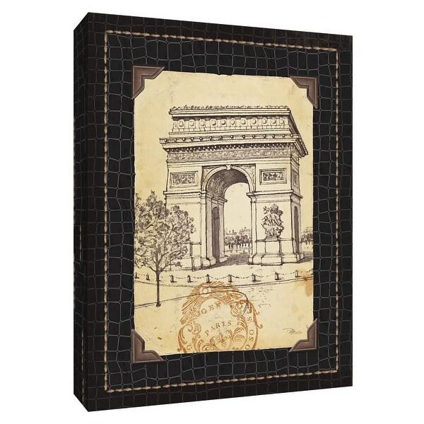 """PTM Images 9-154537 PTM Canvas Collection 10"""" x 8"""" - """"Paris Collage VII C"""" Giclee Arc De Triomphe Art Print on Canvas"""
