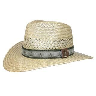 179fa75f84a Scala Classico Men s Rush Straw Safari Hat with Golf Club Pin and Hatband