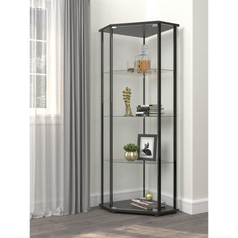 Porch & Den Hyman Clear and Black Curio Cabinet with Glass Shelf