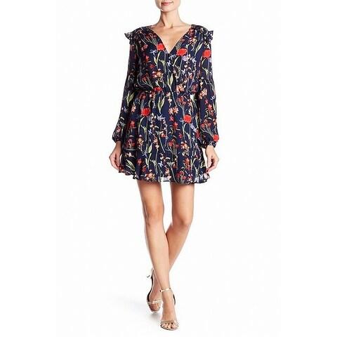 Parker Blue Women's Size Medium M Floral Print V-Neck Sheath Dress