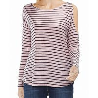 Two by Vince Camuto Pink Womens Size XL Striped Cold Shoulder Blouse