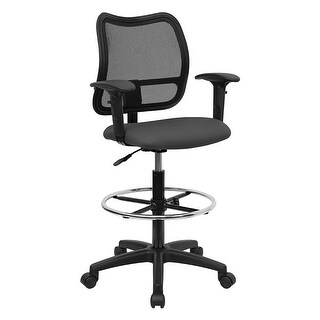 Offex Mid-Back Mesh Drafting Stool with Gray Fabric Seat and Arms [OF-WL-A277-GY-AD-GG]