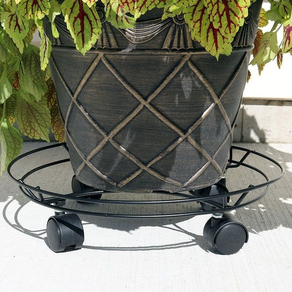 Sunnydaze Indoor Outdoor Spiral Metal Planter Caddy - 14-Inch Diameter