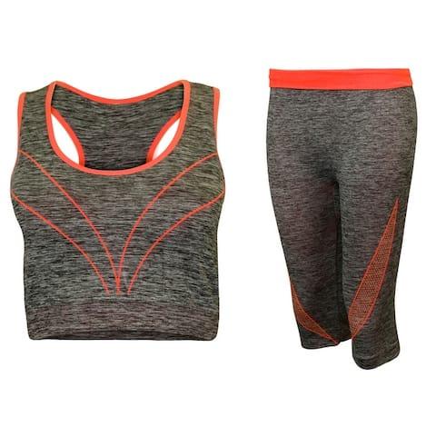 2-Piece Sports Bra & Capri Leggings Set, Multiple Colors