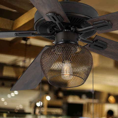 """Penelope River of Goods Oil Rubbed Bronze Mesh 52 in. Ceiling Fan With LED Light - 52"""" x 52"""" x 15""""/20"""""""