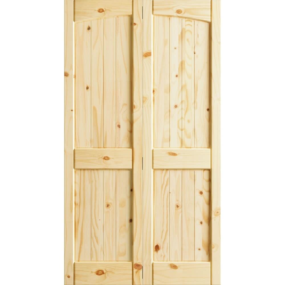 Frameport Kpn Bi Nr4p 6 23x2 H Knotty Pine 24 By 80 Rebated 4 Panel Arch Top Interior Bifold Door With Installation Hardware