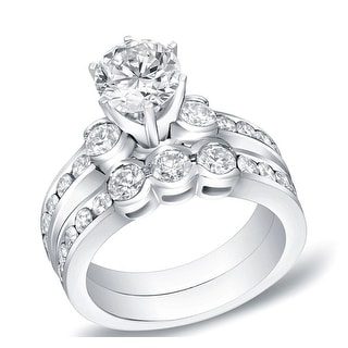 Auriya 14k Gold 2 1/2ctw Round 3-stone Diamond Engagement Ring Set