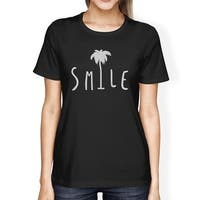 Smile Palm Tree Black Womens Funny Design Short Sleeve Tee Cotton