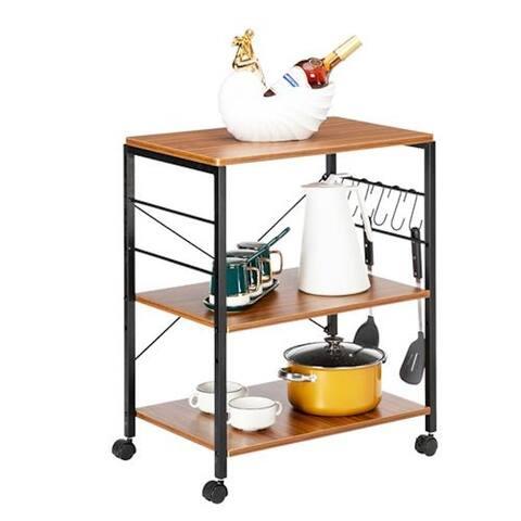 Kitchen Microwave Cart 3-Tier Utility Cart Vintage Rolling Bakers Rack