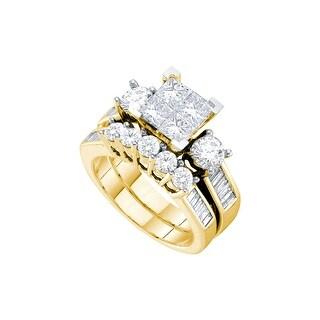 14k Yellow Gold Natural Princess Invisible-set Diamond Womens Wedding Bridal Ring Set 3.00 Cttw - White