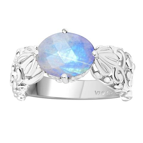 Sterling Silver with Natural Rainbow Moonstone Solitaire Swirl Work East West Ring