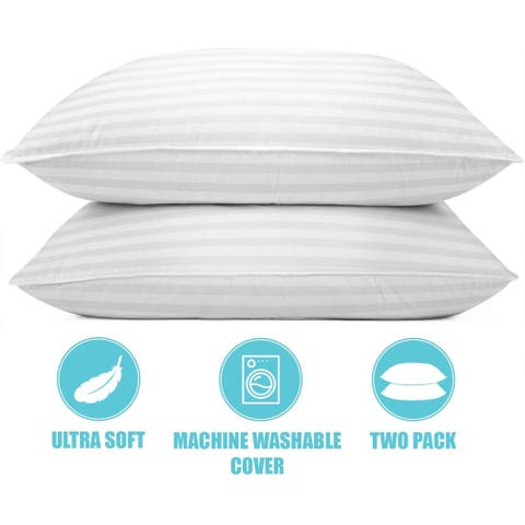 Cotton Quilted Bed Pillows/ Set of 2 Premium Set Pillow - White