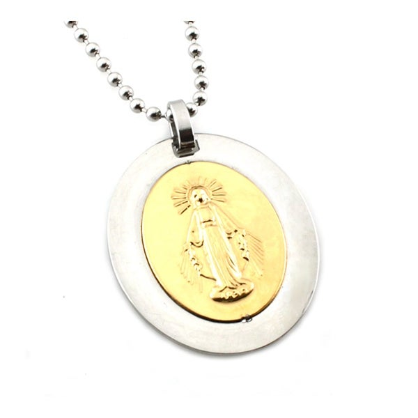 Stainless Steel Two-Tone Mother Mary Oval Pendant - 24 inches