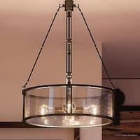 "Luxury Industrial Chandelier, 25.5""H x 20""W, with Western Style, Rectangular Link Design, Estate Bronze Finish"