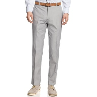 Bar III Carnaby Collection Slim Fit Light Gray Striped Cotton Pants Trousers