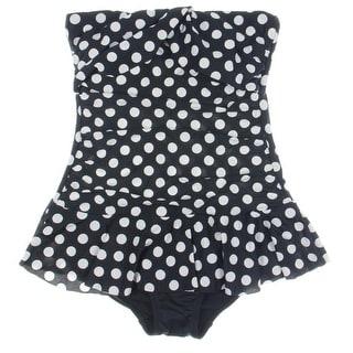 Lauren Ralph Lauren Womens Polka Dot Twist Front One-Piece Swimsuit - 8
