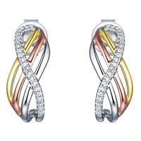 Prism Jewel 0.70MM 0.08CT G-H/I1 Natural Diamond Tri-Color Gold Bypass Push Back Earring - N/A - White G-H