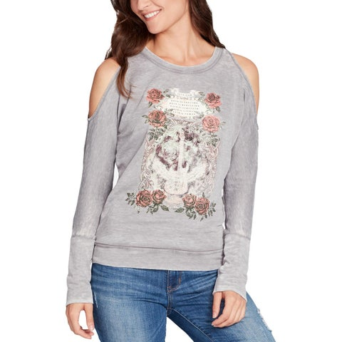 William Rast Womens Whitney Graphic T-Shirt Knit Cold Shoulder