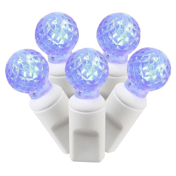 """Set of 100 Blue Commercial Grade LED G12 Berry Christmas Lights 4"""" Spacing - White Wire"""