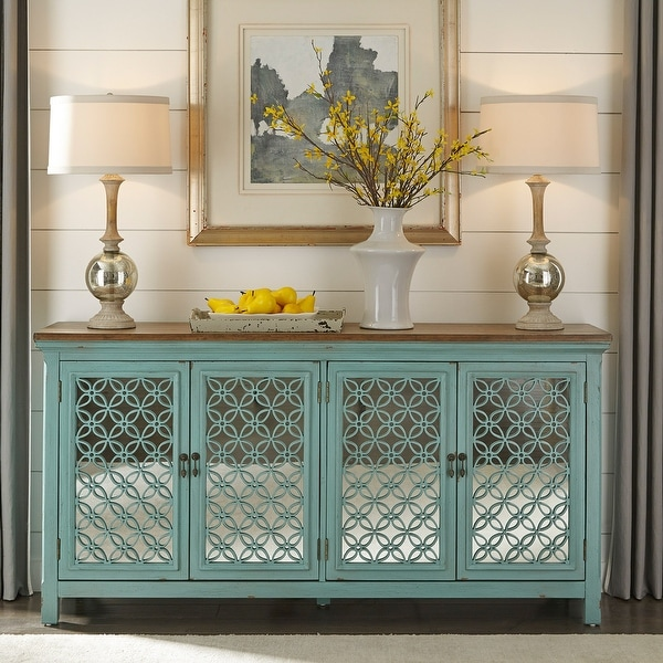 Stephanie Turquoise 4-door Accent Cabinet. Opens flyout.