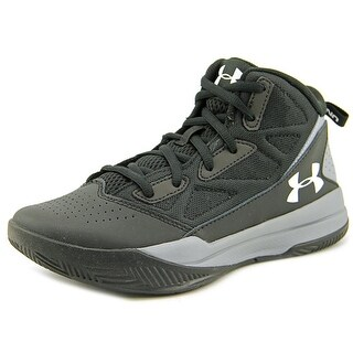 Under Armour BGS Jet Mid Youth Round Toe Leather Black Basketball Shoe