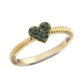 Beautiful Round Brilliant Cut Green Diamond Heart Shaped Valentine Ring