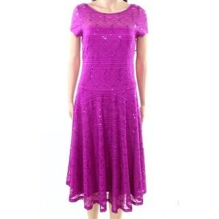 Sangria Orchid Purple Womens Size 14 Sequin Lace Sheath Dress
