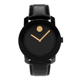 Movado Men's Slightly Blemished TR90 Composite 'Bold' 3600046 Black Dial Leather Strap Watch