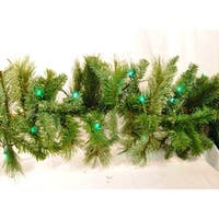 Christmas at Winterland WL-GARBM-09-LGR 9 Foot Pre-Lit Green LED Blended Pine Garland Indoor / Outdoor