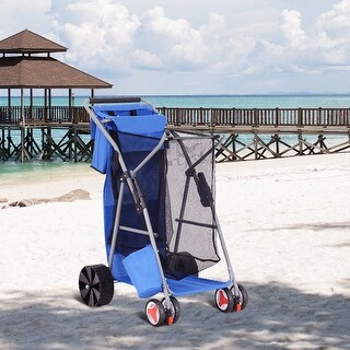 Gymax Foldable Beach Wonder Tote Cart Folding Storage