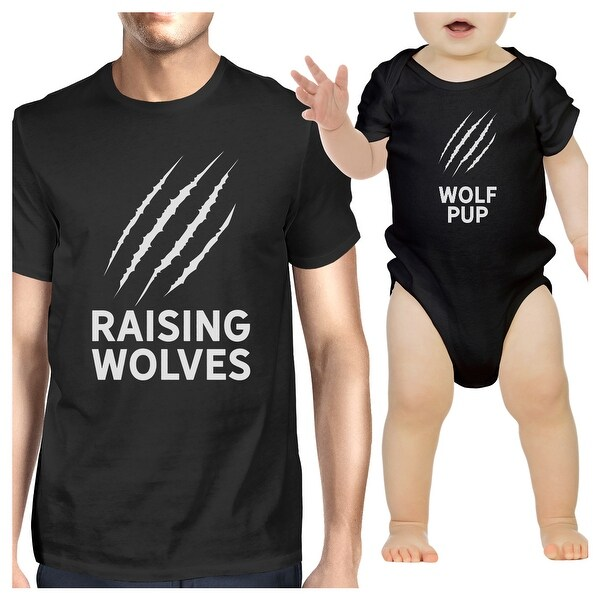 Raising Wolves Dad Baby Matching Graphic Shirts Black Gifts For Dad