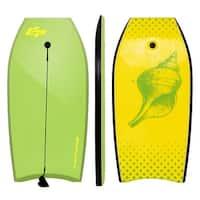 Goplus 42'' Lightweight Super Bodyboard Surfing W/Leash IXPE Deck EPS Core Boarding - yellow,green