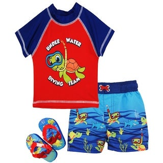 Wippette Baby Boys Swimwear Turtle Rashguard Top Swim Trunk Set with Flip Flops