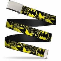 Blank Chrome  Buckle Batman Bat Signal Bats Collage Black Yellow Web Belt