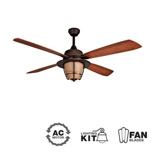 """Ellington Fans Morrow Bay Morrow Bay 56"""" 4 Blade Indoor / Outdoor Ceiling Fan - Blades and Light Kit Included"""
