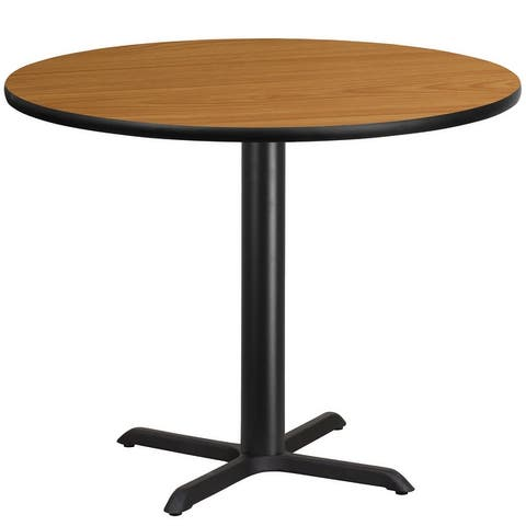 """42"""" Round Laminate Table Top with 33"""" x 33"""" Table Height Base"""